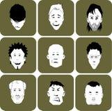 Ramassage de différents hommes de dessin animé ou de visages mâles. Photographie stock libre de droits
