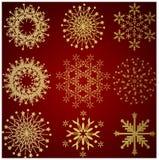 Ramassage de flocons de neige de l'hiver d'or Image libre de droits