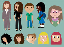 Ramassage de gens avec des expressions Photo stock