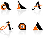 Ramassage de graphismes de la lettre A Images stock