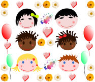 Ramassage de joyeux visages de chéri de différents chemins Images stock