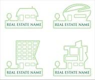 Ramassage de logos verts de vecteur d'immeubles Images stock