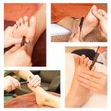 Ramassage de massage de pied de réflexothérapie Photographie stock