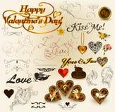 Ramassage de rétros éléments pour la conception du jour de valentine Photos stock