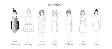 Ramassage de robes Croquis noir et blanc r?gl? DES FEMMES DANS la PLEINE CROISSANCE DIVERS DES COIFFURES illustration libre de droits