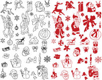 Ramassage de vecteur de silhouettes de Noël Image libre de droits
