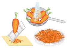ramassage Des carottes sont lavées dans une passoire sous l'eau, ont frotté sur une râpe, salade coréenne est préparées Parabolo? illustration stock