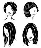ramassage Profil de silhouette d'une t?te mignonne de la dame s La fille montre sa coiffure pour les cheveux moyens et longs Appr illustration libre de droits