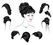 ramassage Profil de silhouette d'une t?te mignonne de la dame s La fille montre sa coiffure pour les cheveux moyens et longs Appr illustration de vecteur