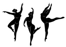 ramassage Silhouette d'une dame mignonne, elle danse le ballet La femme est de poids excessif La fille est dodue et mince La femm illustration de vecteur