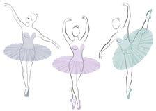 ramassage Silhouette d'une dame mignonne, elle danse le ballet La fille a une belle figure Ballerine de femme Vecteur illustration stock