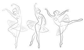 ramassage Silhouette d'une dame mignonne, elle danse le ballet La fille a une belle figure mince Ballerine de femme Vecteur illustration de vecteur