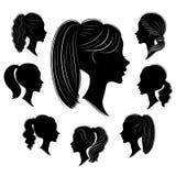 ramassage Silhouette d'une t?te d'une dame douce dans diff?rents cadres La fille montre une coiffure de la femme s sur les cheveu illustration de vecteur