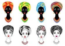 ramassage Silhouette d'une t?te d'une dame douce Un ch?le lumineux, un turban est attach? sur la t?te d'une fille afro-am?ricaine illustration libre de droits