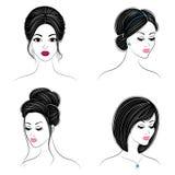 ramassage Silhouette de la t?te d'une dame mignonne La fille montre sa coiffure sur de longs et moyens cheveux Appropri? au logo, illustration de vecteur