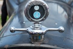 First Dodge Brothers car logo and hood ornament on Dodge 1921 stock photography