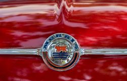 Morris Mini-Minor 850 (1960) emblem presented on annual oldtimer car show, Israel stock photography