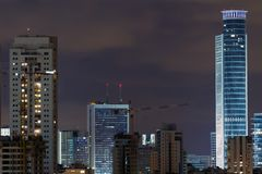Ramat- Ganstadt nachts. Lizenzfreie Stockfotografie