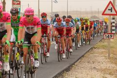 Ramat Negev, Israel - May 06, 2018: Central group at stage of Giro d`Italia from Beer Sheba to Eilat Stock Photography