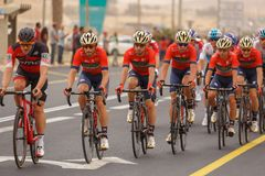 Ramat Negev, Israel - May 06, 2018: Cyclists at stage of Giro d`Italia from Beer Sheba to Eilat Royalty Free Stock Image