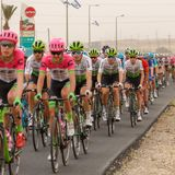 Ramat Negev, Israel - May 06, 2018: Peloton at stage of Giro d`Italia from Beer Sheba to Eilat Royalty Free Stock Image