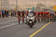Ramat Negev, Israel - May 06, 2018: Stage 3 of 2018 Giro d`Italia from Beer Sheba to Eilat Stock Images
