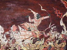 Ramayana epic story Temple Wall Painting, Thai Mural Royalty Free Stock Images