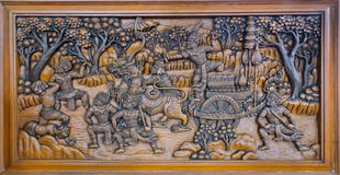 Ramayana epic wood carving Stock Image