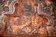 Ramayana-fragment decors of Banteay Srei Royalty Free Stock Image