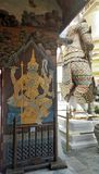 Ramayana giant painting on the compound wall and back of big giant sculpture Royalty Free Stock Photo