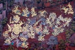 Ramayana het schilderen in openbare tempel in Thailand Stock Foto