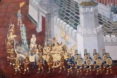 Ramayana het schilderen in openbare tempel in Thailand Stock Foto's