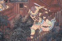 Ramayana het schilderen in openbare tempel in Thailand stock afbeeldingen