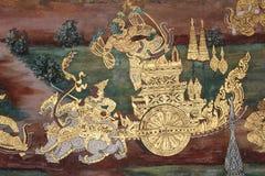 Ramayana Hindu Epic Mural. Bangkok, Thailand - 21st November, 2017: Wall painting at the grand palace depicting the Ramayana Hindu epic story. It covers several Stock Photos