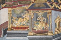Ramayana Hindu Epic Mural. Bangkok, Thailand - 21st November, 2017: Wall painting at the grand palace depicting the Ramayana Hindu epic story. It covers several Stock Photo