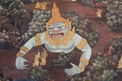 Ramayana Hindu Epic Mural. Bangkok, Thailand - 21st November, 2017: Wall painting at the grand palace depicting the Ramayana Hindu epic story. It covers several Royalty Free Stock Images