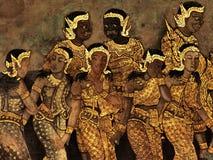 Ramayana malowidła ściennego obrazy, obcy bitwa bóg i chimera na ścianach królewiątko pałac Bangkok, Tajlandia Fotografia Stock