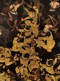 Ramayana malowidła ściennego obrazy, obcy bitwa bóg i chimera na ścianach królewiątko pałac Bangkok, Tajlandia Obrazy Stock