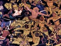 Ramayana malowidła ściennego obrazy, obcy bitwa bóg i chimera na ścianach królewiątko pałac Bangkok, Tajlandia Obraz Royalty Free