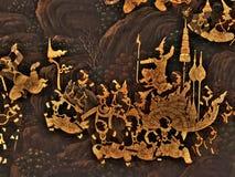 Ramayana malowidła ściennego obrazy, obcy bitwa bóg i chimera na ścianach królewiątko pałac Bangkok, Tajlandia Fotografia Royalty Free