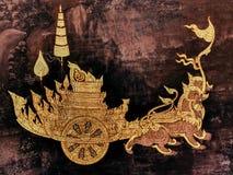 Ramayana malowidła ściennego obrazy, obcy bitwa bóg i chimera na ścianach królewiątko pałac Bangkok, Tajlandia Zdjęcie Stock