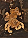 Ramayana malowidła ściennego obrazy, obcy bitwa bóg i chimera na ścianach królewiątko pałac Bangkok, Tajlandia Zdjęcia Royalty Free