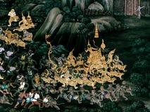 Ramayana mural paintings of , alien battles gods and chimera on walls of kings palace Bangkok, Thailand.  Royalty Free Stock Photo