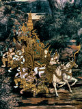 Ramayana mural paintings of , alien battles gods and chimera on walls of kings palace Bangkok, Thailand Royalty Free Stock Photo