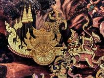Ramayana mural paintings of , alien battles gods and chimera on walls of kings palace Bangkok, Thailand Stock Image