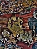 Ramayana mural paintings of , alien battles gods and chimera on walls of kings palace Bangkok, Thailand Stock Photos