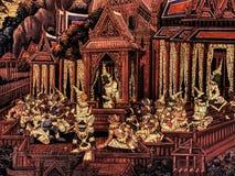 Ramayana mural paintings of , alien battles gods and chimera on walls of kings palace Bangkok, Thailand Royalty Free Stock Photos
