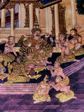 Ramayana mural paintings of , alien battles gods and chimera on walls of kings palace Bangkok, Thailand Royalty Free Stock Photography
