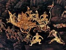 Ramayana mural paintings of , alien battles gods and chimera on walls of kings palace Bangkok, Thailand.  Royalty Free Stock Photography