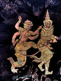 Ramayana mural paintings of , alien battles gods and chimera on walls of kings palace Bangkok, Thailand Royalty Free Stock Photo